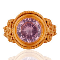 22k Gold Plated 925 Sterling Silver Round-Shaped Pink Cubic Zirconia Ring Size 7