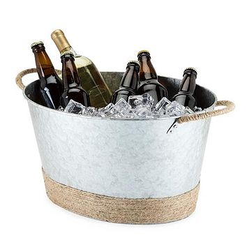 Jute Rope Wrapped Galvanized Tub by Twine®