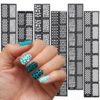 6 Styles/Set DIY Reusable Stamping Tool Nail Art Hollow Template Stickers Stamp Stencil Guide Makeup Tools