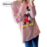 Kingsnower Women Casual Striped Shirt Oversize Tunic Tops T-shirts Summer Kawaii Tee Harajuku Tops Micky Maternity Tees ZA2017