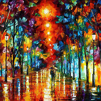 """Night Park — Oil Painting On Canvas By Leonid Afremov. Size: 30""""x24 Wall decor"""