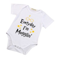 "Unisex Short-Sleeve ""Everyday I'm Mugglin"" Printed Onsie"