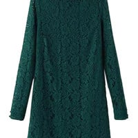 Green Long Sleeve Lace Dress