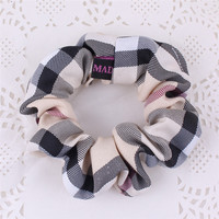 Plaid style Women Elastic Cloth Hair Bands Scrunchie Hair Tie Ring Rope Girls' Ponytail Holder Casual Headwear Accessories