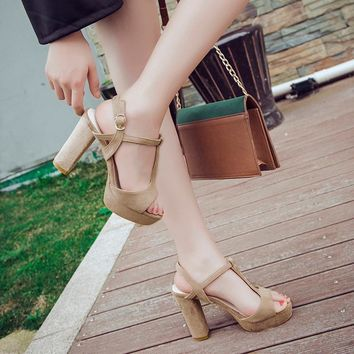 Open Toe Platform Ankle Wrap High Chunky Heels Sandals