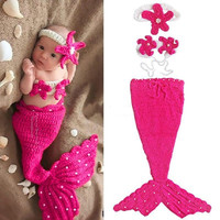 2014 New Newborn Baby Crochet Knit Costume Photography Prop Outfit rose Red Mermaid Infant Girl Boy Soft = 1958021444