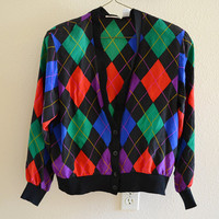 Multicolor Argyle Silk Button Up Cardigan Shoulder Pads Vintage 90s 80s Large