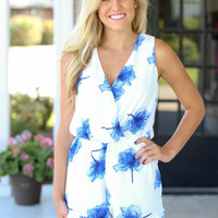 West End Blues Floral Romper - Ivory and Blue
