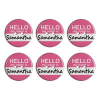 Samantha Hello My Name Is Plastic Resin Button Set of 6