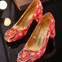 LV Louis Vuitton Red leather high heel shoes