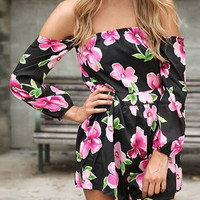 Black Floral Print Long Sleeve Slash Collar Romper