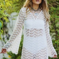 Summer Plus Size Women's Fashion Lace V-neck Long Sleeve Tops [7767263175]
