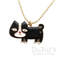 Cute Black and White Kitty Cat Shaped Animal Pendant Necklace | DOTOLY