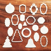Christmas tree ornaments set of three six and nine made to order in white acrylic