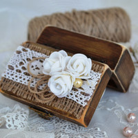 Wedding Ring Box Bearer Rustic Ring Holder Wooden Box Weddign ring Bear Lace Roses