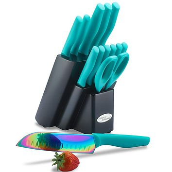 DISHWASHER SAFE Rainbow Titanium Cutlery Knife Set, Marco Almond KYA27 Kitchen Knives Set with Wooden Block, Rainbow Titanium Coating,Chef Quality for Home & Pro Use, Best Gift,14 Piece Turquoise 14-Piece Rainbow Titanium/Turquoise
