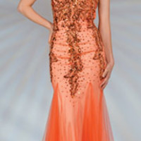 2014 Prom Dresses - Orange Beaded Strapless Mermaid Dress