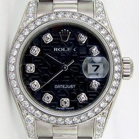Rolex Lady Datejust President Gold Black Jubilee Diamond 179159 - WATCH CHEST