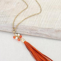 Orange Clip-on Tassel Necklace