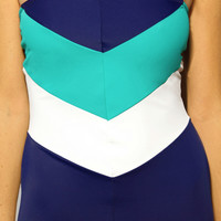 Olivia Chevron Strapless One Piece Swimsuit by CollectiveHearts