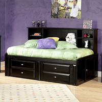 Chelsea Home Twin Bed w/ Bookcase & Storage in Black Cherry