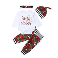 Newborn Baby Girl Little Sister Top Romper+Legging+Hat Clothes Outfit 4Pcs 0-18M