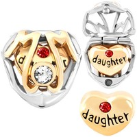 Pugster Mom Daughter Love Heart Charm Birthstone Charms Bead Fit Pandora Charms Bracelet