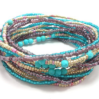 Seed bead wrap stretch bracelets, stacking, beaded, boho anklet, bohemian, stretchy stackable multi strand, turquoise, pink silver, purple