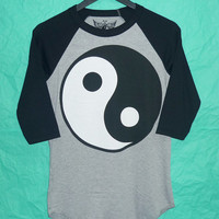 Yin Yang raglan tshirt S,M,L,XL Chinese philosophy gray black /crewneck baseball shirt/  men tee/ women t shirts ,black teen fashion apparel