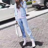 VONE05C Givenchy' Women Casual Embroidery Letter Star Stripe Zip Cardigan Long Sleeve Set Two-Piece Sportswear