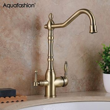 Purifier Kitchen Faucets Antique Bronze Filter Mixer Tap Cold and Hot Water Purification Crane For Kitchen