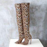 Leopard Stretch Leather Over The Knee Boots High Heel Pointy Toe Slip On Thigh Boots