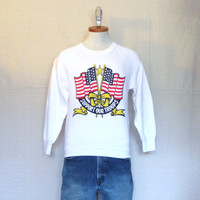 Vintage Deadstock 80s USA MILITARY GRAPHIC Support Troops American Flag Pride Unisex Small White 50/50 Crewneck Sweatshirt