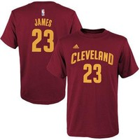 Youth Cleveland Cavaliers LeBron James adidas Burgundy Game Time Flat Name & Number T