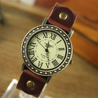 Unisex Vintage Travel Roman Watch Leather Band Strap Watch Brown