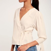 Wilena Cream Statement Sleeve Wrap Top