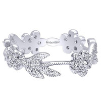 Gabriel 14K White Gold Floral Style Stackable Ring