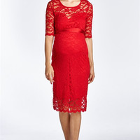 Red Floral Lace Maternity Dress