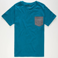 Blue Crown Contrast Boys Pocket Tee Turquoise  In Sizes