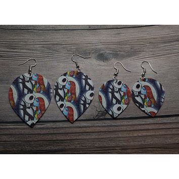 Jack and Sally Tear Drop Faux Leather Earrings
