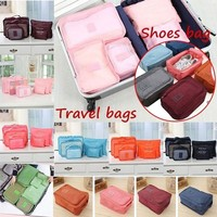 6pcs Clothes Storage Bags Packing Cube Travel Clothing Organizer Pouch Random Color