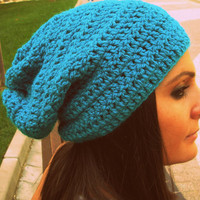 Ocean blue crochet hat,perfect blue hat,blue woman hat,crochet slouchy beanie,slouch hat,woman accessories