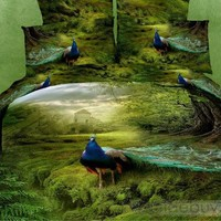 Noble Grass and Visual Peacock Active Printing 4 Piece Bedding Sets