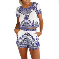 Elegant Retro Floral Printed Short Sleeved Mini Boho Beach Dresses Two Piece Women