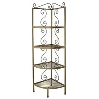 "Corner Baker's Rack Finish: Satin Black, Brass Tips: With Brass Tips, Size: 13"" W x 13"" D"