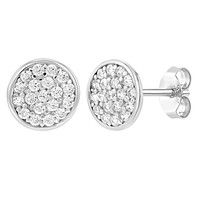 925 Sterling Silver Clear CZ Round Stud Earrings for Girls Teens Push Back 7mm