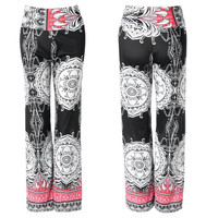 Ethinic Style High Waisted Printed Loose Fitting Wide Leg Yoga Pants Trousers for Women = 1842650564