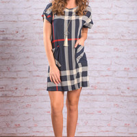 Plaid You're Here Dress, Navy