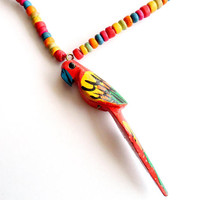 Vintage Parrot Pendant Necklace Carved Hand Painted Colorful Rainbow Tropical Wooden Summer Vacation Bird Macaw