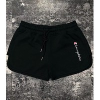 Champion 2018 vertical embroidery logo women's casual sports shorts F-AG-CLWM Black